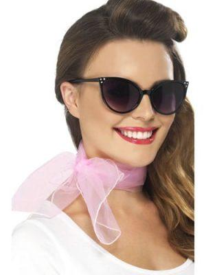 50's Chiffon Style Pink Poodle Neck Scarf