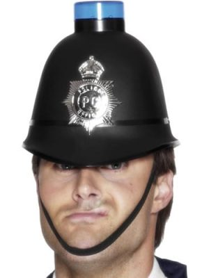 Police Helmet with Flashing Siren
