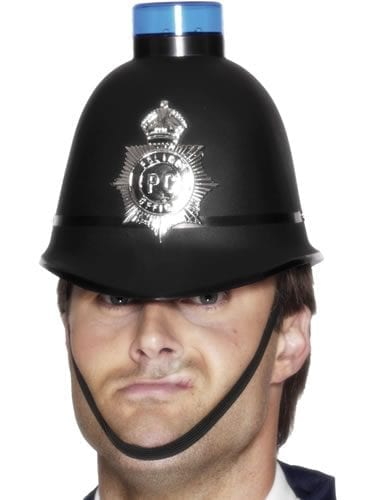 Police Helmet with Flashing Siren