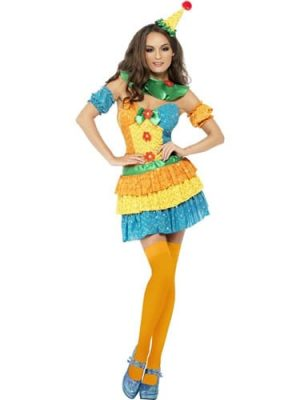 Fever Collection Clown Ladies Fancy Dress Costume