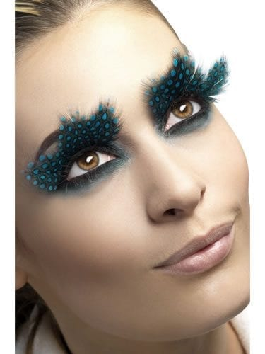 Fever Collection Large Feather Eyelashes with Aqua Dots