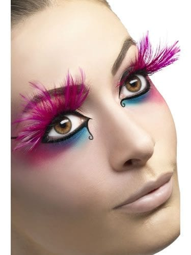 Fever Collection Pink with Feathered Plumes Eyelashes