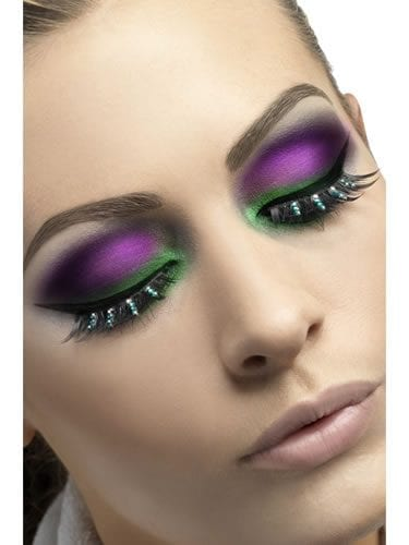 Fever Collection Black with Green Diamante Eyelashes