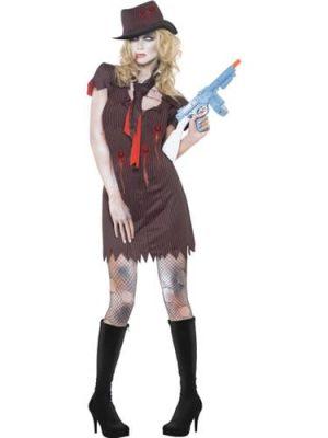 Fever Zombie Gangster Halloween Ladies Fancy Dress Costume