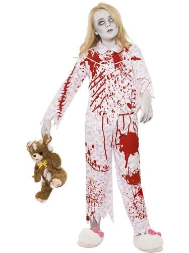 Zombie Pyjama Girl Children's Halloween Fancy Dress Costume