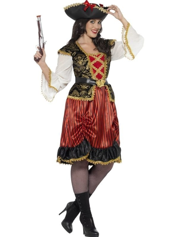 Curves Pirate Lady Ladies Fancy Dress Costume