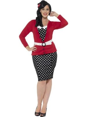 Curves 50's Pin Up Ladies Fancy Dress Costume