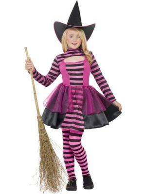 Stripe Dark Fairy Halloween Childrens Fancy Dress Costume (DISC)