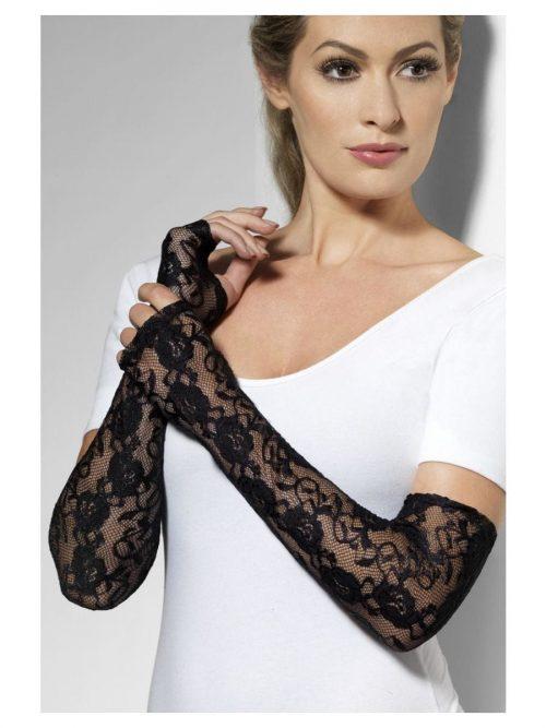Black Gothic Lace Full Length Fingerless Gloves-0