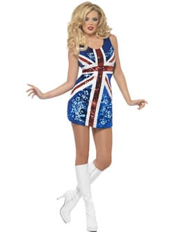 Fever All that Glitters Rule Brittania (Union Jack) Ladies Fancy Dress Costume