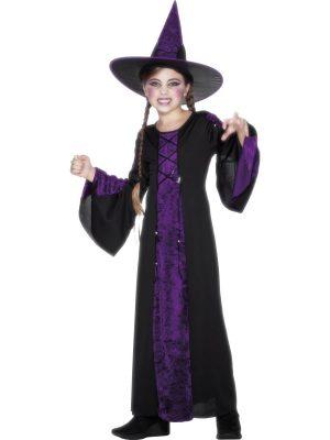 Bewitched Purple/Black Halloween Children's Fancy Dress