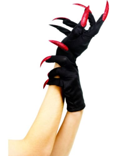 Black Short Gloves with Red Glitter Nails