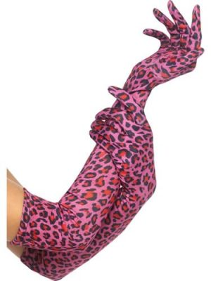 Leopard Print Pink Long Gloves