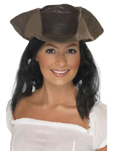 Pirate Brown Leather Look Hat with Hair