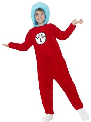 Cat in the Hat Thing 1 or Thing 2 Children's Fancy Dress Costume