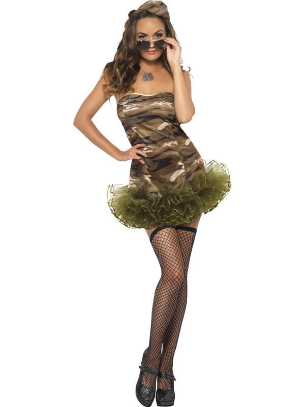Fever Tutu Army Ladies Fancy Dress Costume