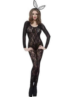 Bodysuit Black Lace Ladies Fancy Dress Costume