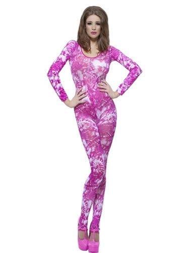 Bodysuit Tie Dye Pink Ladies Fancy Dress Costume