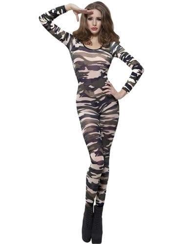 Bodysuit Camouflage Ladies Fancy Dress Costume