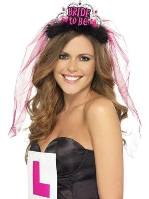 Bride to Be Tiara with Veil Black