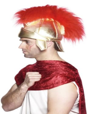 Roman Helmet Gold with Red Plume