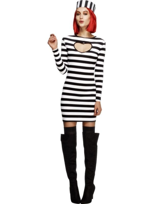 Fever Collection Sexy Convict Ladies Fancy Dress Costume