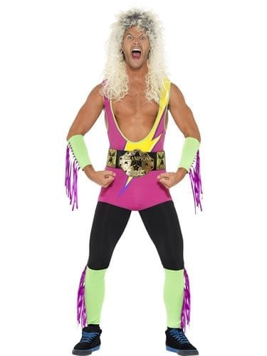 Retro Wrestler Men's Fancy Dress Costume