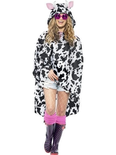 Cow Party Poncho Ladies Fancy Dress Costume