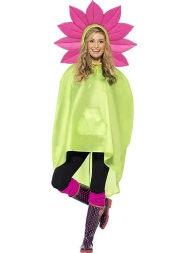 Flower Party Poncho Ladies Fancy Dress Costume