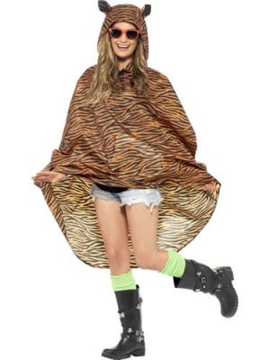 Tiger Party Poncho Ladies Fancy Dress Costume