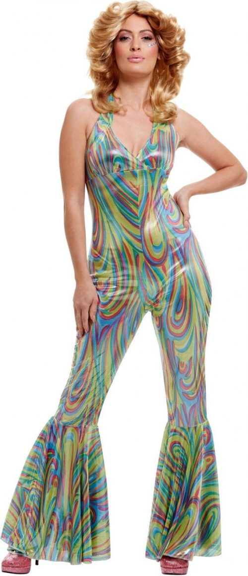 Fever Collection Multi Coloured Dancing Queen Catsuit Ladies Fancy Dress Costume