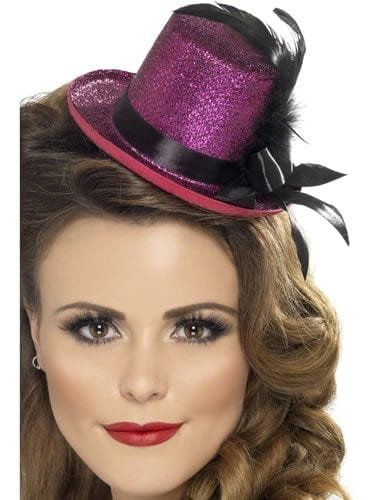 Mini Top Hat Pink with Black Ribbon & Feather