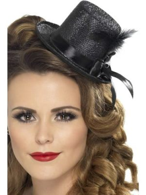Mini Top Hat Black with Black Ribbon & Feather