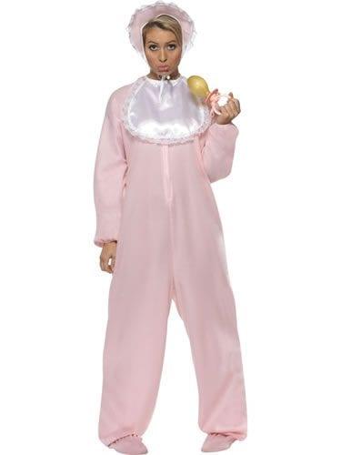 Pink Baby Romper Suit Ladies Fancy Dress Costume