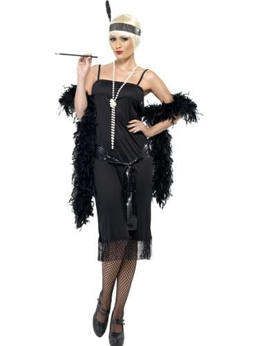 Black Flapper Ladies Fancy Dress Costume