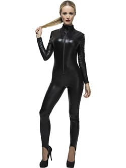 Fever Collection Miss Whiplash Black Catsuit Ladies Fancy Dress Costume