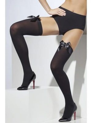 Black Thigh High Stockings with Black Bow
