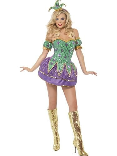 Fever Collection Harlequin Shine Ladies Fancy Dress Costume