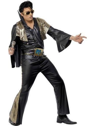 Elvis Black/Gold Mens Fancy Dress Costume