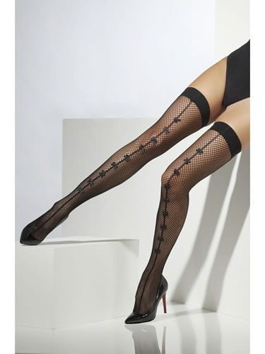 Black Fishnet Stockings with Black Bow Seam