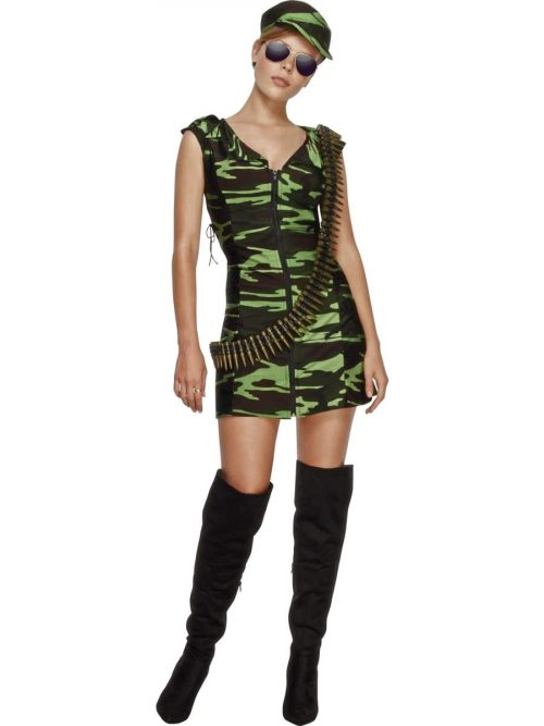 Fever Collection Combat Girl Ladies Fancy Dress Costume