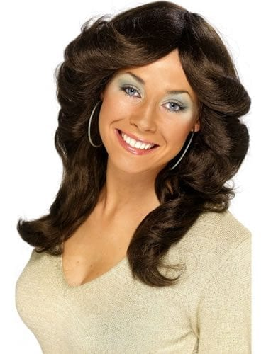 70's Layered Flick Wig Brown