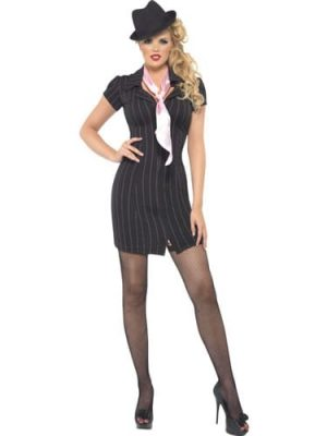 Fever Collection Gangster Ladies Fancy Dress Costume