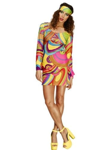 Fever Collection 60s Flower Power Dress Ladies Hippy Fancy Dress Costume