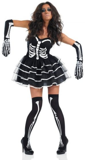Skeleton Tutu Dress Ladies Halloween Fancy Dress Costume