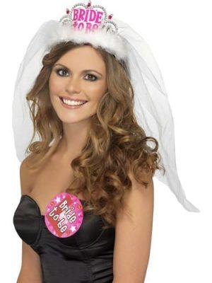 Bride to Be Tiara with Veil White