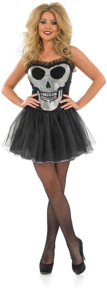 Glitzy Skull Tutu Dress Ladies Halloween Fancy Dress Costume