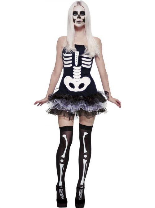 Fever Collection Skeleton Ladies Halloween Fancy Dress Costume