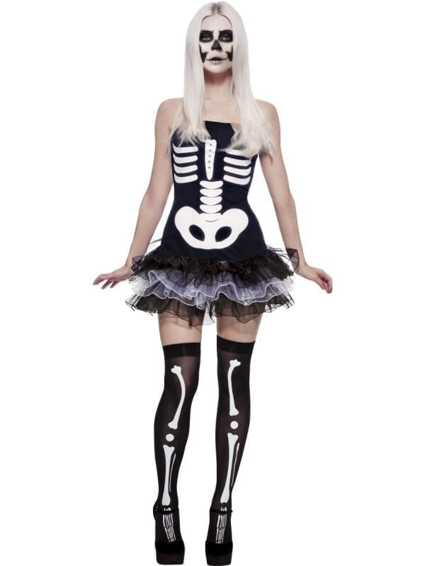 Fever Collection Skeleton Ladies Halloween Fancy Dress Costume