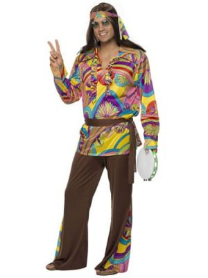 Psychedelic Hippy Mens Fancy Dress Costume